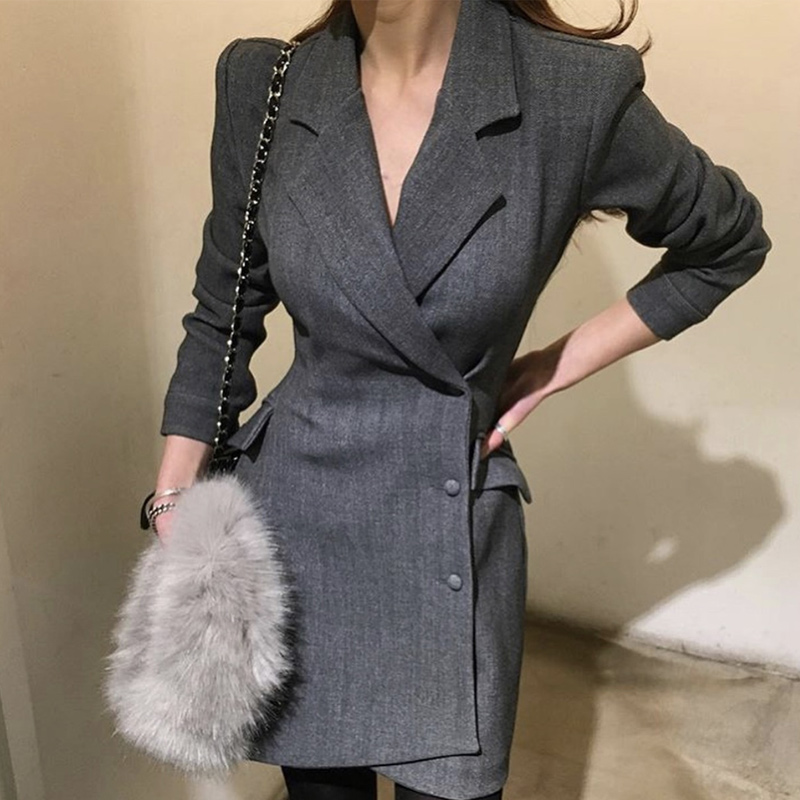 CBAFU 2019 Newest Spring Irregular Office Lady Women Business Suit Coat Turn-down Collar Long Sleeve Thick Long Jacket Coat D285