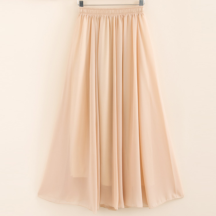 2019 Two Layer Women Summer Skirt High Waist Vintage Pure Color Women Long Skirt Saias Femme Boho White Chiffon Maxi Skirt White
