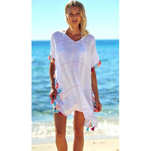 Womens Summer Striped Tassel Swimwear Bikini Beach Tunic Dresses Wear Cover Up Kaftan Ladies femme Loose Mini Dress