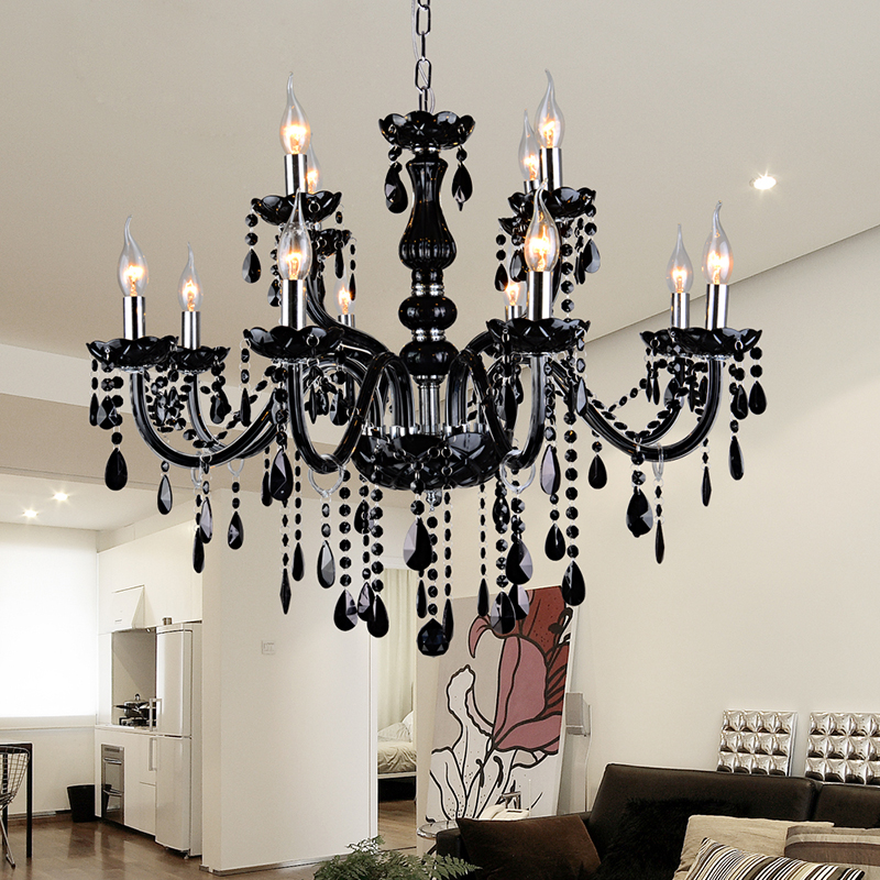 Aliexpress 12 Modern Kitchen Chandeliers Black Candle Chandelier Moderne Kronleuchter Aus Kristall Shaded Crystal Lamp From Reliable