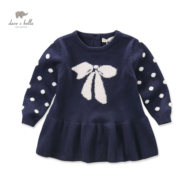 DB4116 dave bella autumn fall baby girl navy bow jacquard designs dress cute lolita dress textile cotton dress