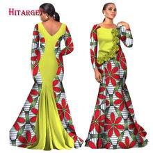 Hitarget 2017 Bazin Riche Aafrika kleidid naistele Prindi Splice O kaela merineitsi seljatud kleidid Dashiki Aafrika riided WY2105