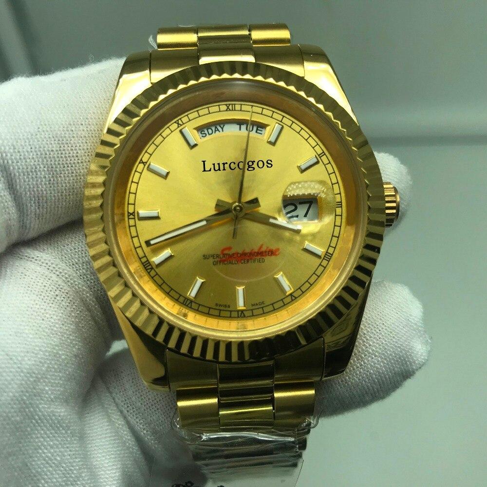 5 Kleuren Gouden Horloge Dag Datum Automatische Glide Glad 40mm Heren Aaa Kwaliteit Horloges Roestvrij Staal Horloges Keuze Materialen