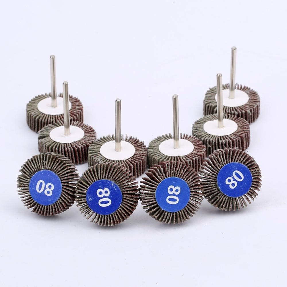 10Pcs 80#Grit Sandpaper Sanding Flap Wheel Disc Buffering Polishing Wheel 32mm For Rotary Tools Dremel Accessories