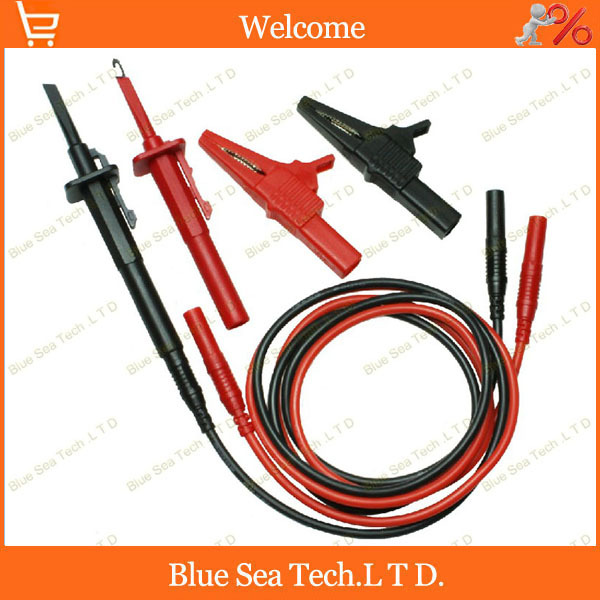 Multimeter pen extension test cable+4mm jack alligator clip+quick test hook 3 in 1. 13 AWG 2.5 sq CATIII 1000V/32A 1 pairs professional rigid shaft clamp type test probe hook with 4mm socket insulation piercing clip catiii 1000vac 10a max