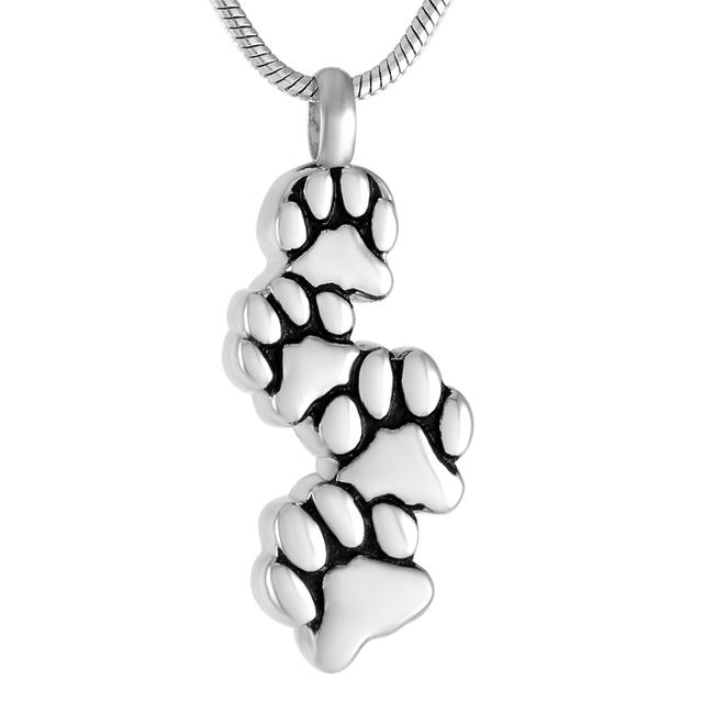 Four Dog Paw Memorial Necklace