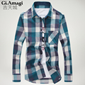 New Fashion 2015 Fall Winter Men Casual Plaid Shirt Long Sleeve Slim Fit Flannel Man Clothes Mens Shirts
