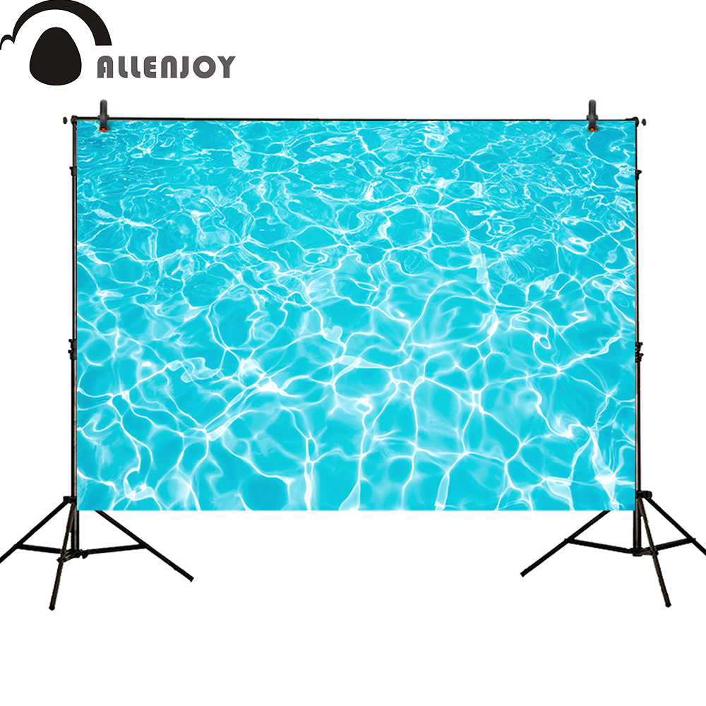 Allenjoy Background for photo studio party summer swimming pool blue water ripple Birthday baby shower photocall