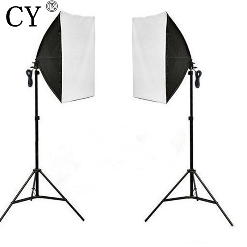 CY Photography Studio Continuous Soft Box Lighting Kits 50x 70cm Softbox*2+Light Stand*2 Photo Studio Set Hot Selling softbox studio lighting softbox light lambed 80cm cotans round cotans photographic equipment 4 flock printing background cd50