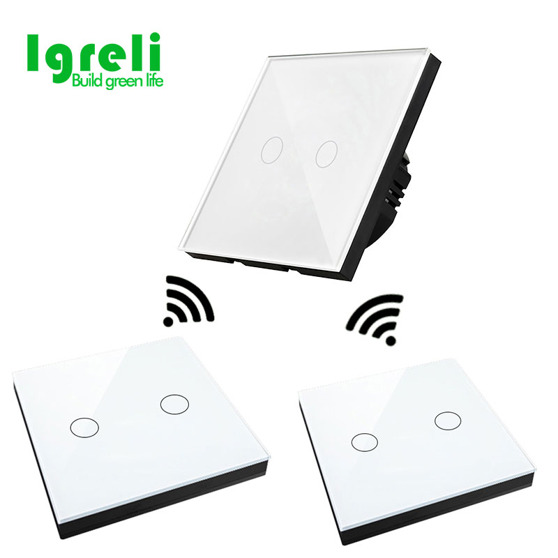 цена на Smart Home 86 remote control touch wall switch waterproof tempered glass panel free stickers free wiring