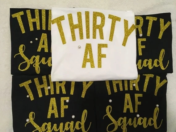 Personalize Glitter Thirty AF Forty 50th Birthday Party Tank Tops Tees Singlets Bachelorette T Shirts Favors Gifts