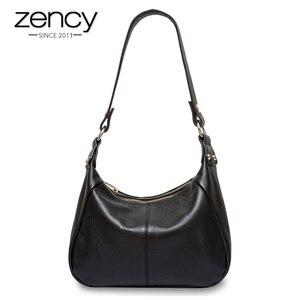 Image 1 - Zency 100% Genuine Leather Classic Black Women Shoulder Bag Fashion Crossbody Messenger Purse For Female High Quality Handbag