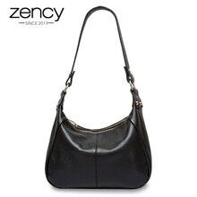 Zency 100% borsa a tracolla classica in vera pelle nera da donna borsa a tracolla a tracolla per borsa femminile di alta qualità