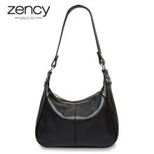 Zency 100% couro genuíno clássico preto mulheres bolsa de ombro moda crossbody messenger bolsa para o sexo feminino alta qualidade