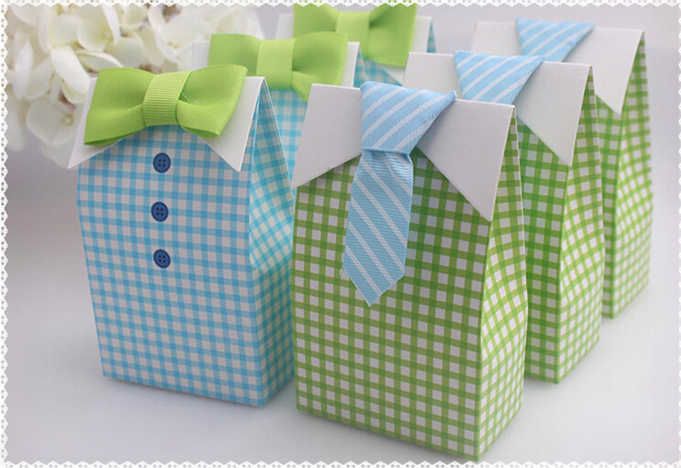 Romantic Favor Box Decoration Blue Green Baby Shower Lover Party