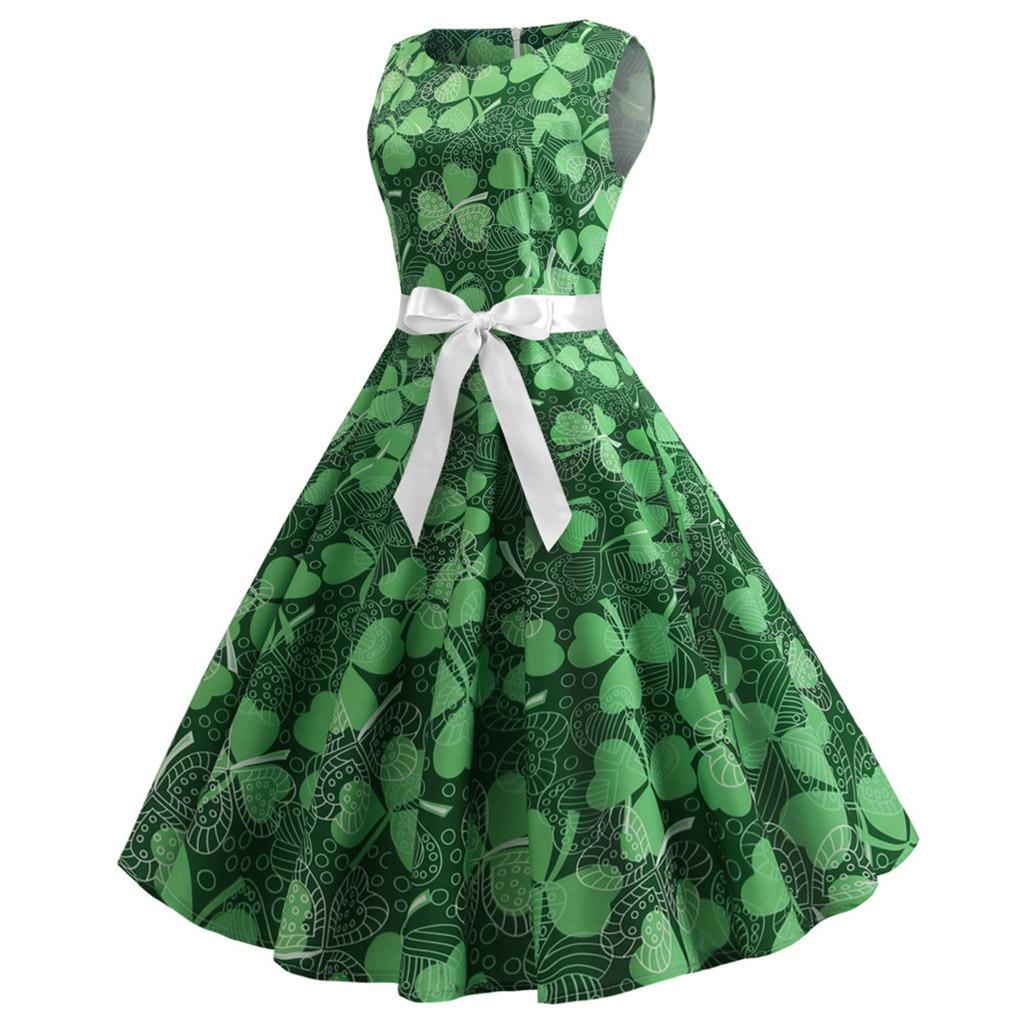 Women Irish St. Patrick's Day 1950's Retro Green Shamrock Dress