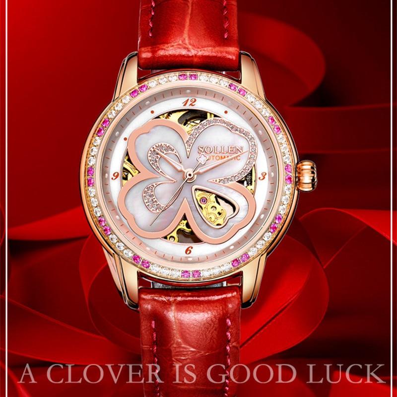 Relogios Femininos Top Luxury Brand Women Fashion Casual Watch Lady Auto Mechanical Watches Leather Band Wristwatch Kadin Izle