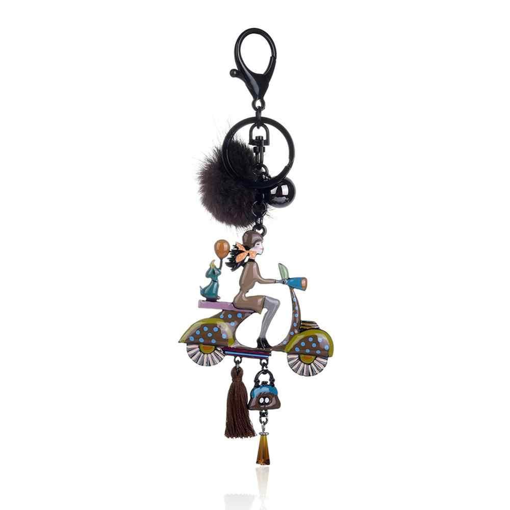 Cring Pompom Pele de Coco Novo Design do Anel Chave de Cadeia Boneca Bicicleta Carro Chaveiros Chaveiros para Senhoras Mulheres Bolsa Pingente Bijuterias presente