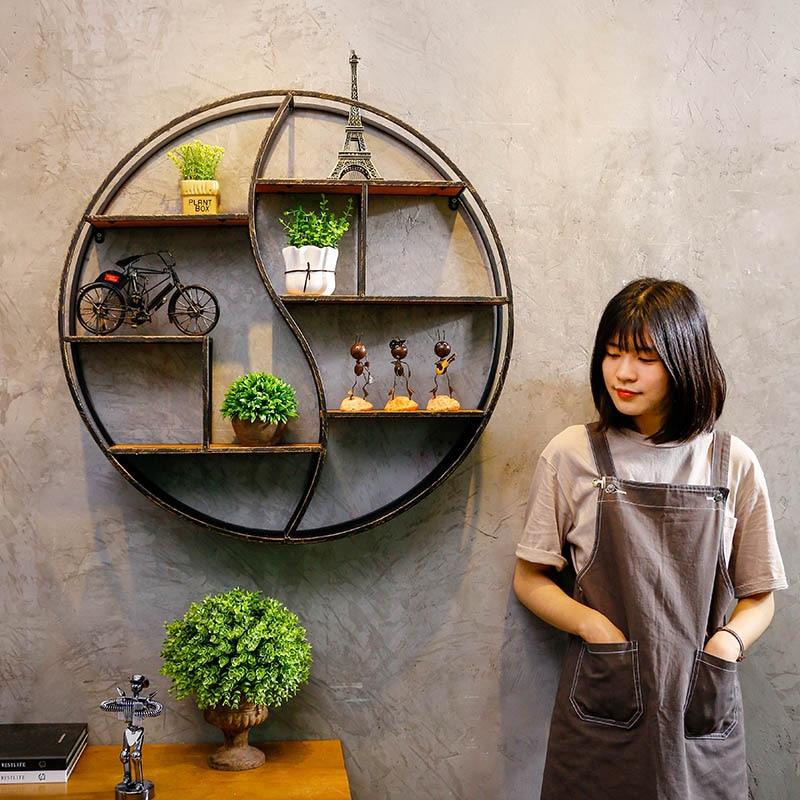 Wall Hanging Overhead Rack Iron Shelf Retro Industrial Glove Box Living Room Decorative Shelf Frame Cafe Wall Art Decorations