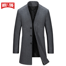 WOLF ZONE Lange Jas Mannen Business Casual Winter Wol Slim Fit Heren Overjas Mannelijke Merk Trenchcoat Jas Windjack Kleding(China)