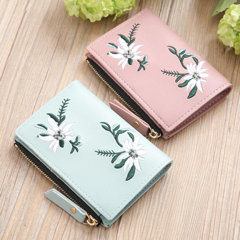 Naivety Embroidery Short Wallet PU Leather Wallets Female Floral Hasp Coin Purse Zipper Bag Card Holders 30S71205 drop shipping 1