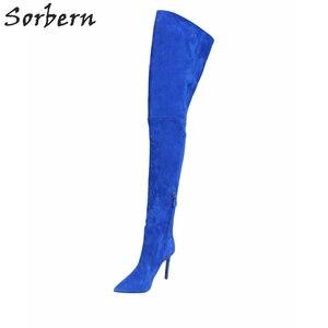 Image 3 - Sorbern Sexy Wees Teen Vrouwelijke Winter Laarzen Dij Hoge Over De Knie Laarzen Hoge Hakken Faux Suede Stiletto Hakken US3 US15
