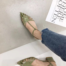 Women Summer Sandals Roman Ankle Strap Pointed Toe Sandals Casual Square Mid Heel Sandals Slip On Mules Slides Shoes 2019 цена и фото