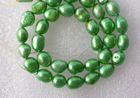 06466 wholesale 5pcs green baroque freshwater pearl necklace loose beads