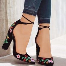 LAISUMK Embroider Women Pumps High Heels Lace up Cross-tie Pointed Toe Elegant Ladies Shoes