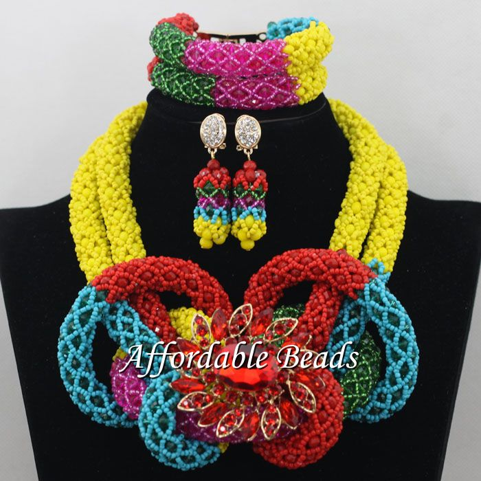 Здесь продается  Different Colors African Ladies Jewelry Set Best Nigerian Wedding Necklace Best Design Handmade Item NCD089  Ювелирные изделия и часы