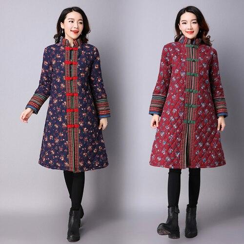 2018 Long Sleeve Floral Print Chinese Style Jacket Women Vintage Coat Women Ethnic Style Winter   Parka   Women