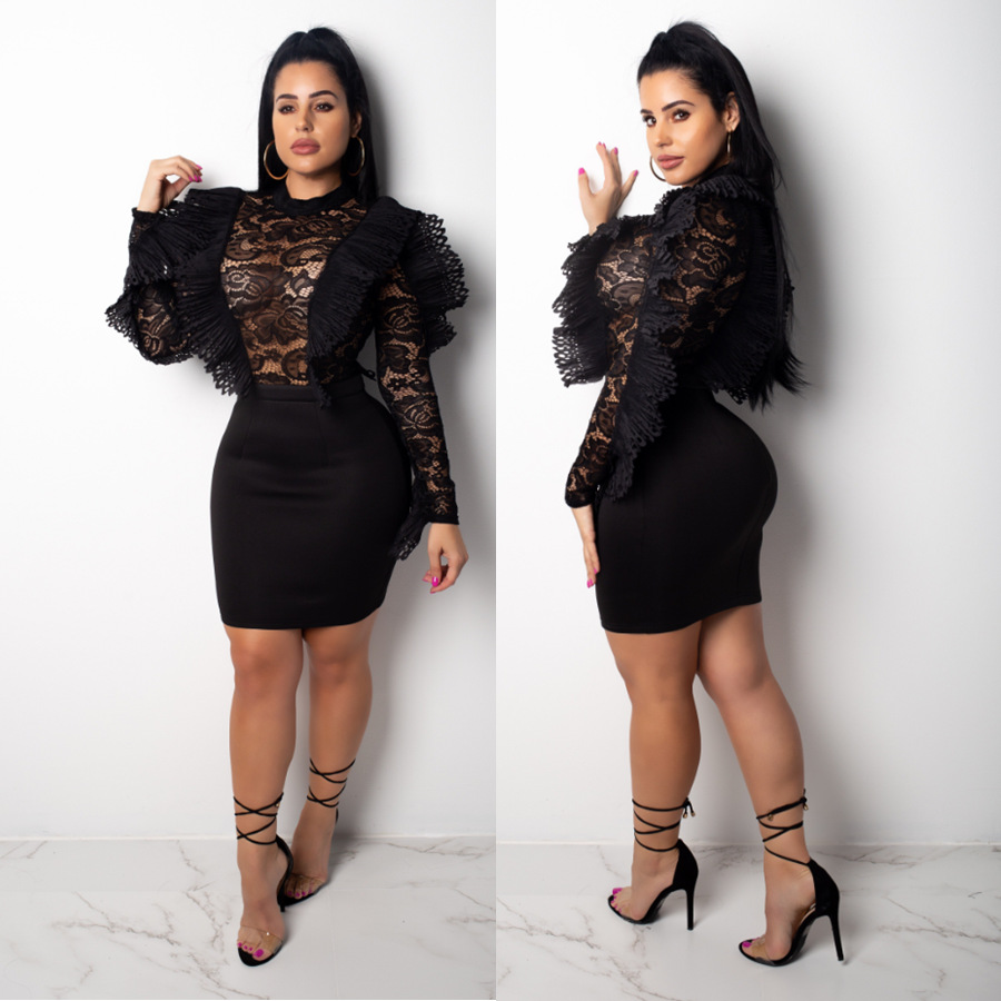 Ruffle Sheer Lace Bodycon Dress Solid Black Long Sleeve Sheath Bandage Mini Night Club Party Dresses Women Sexy S-XL Outfits