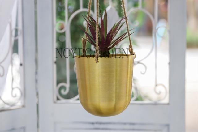 Modern Hanging Metal Flower Pot Planter European American Style Succulents Vase Container Gold