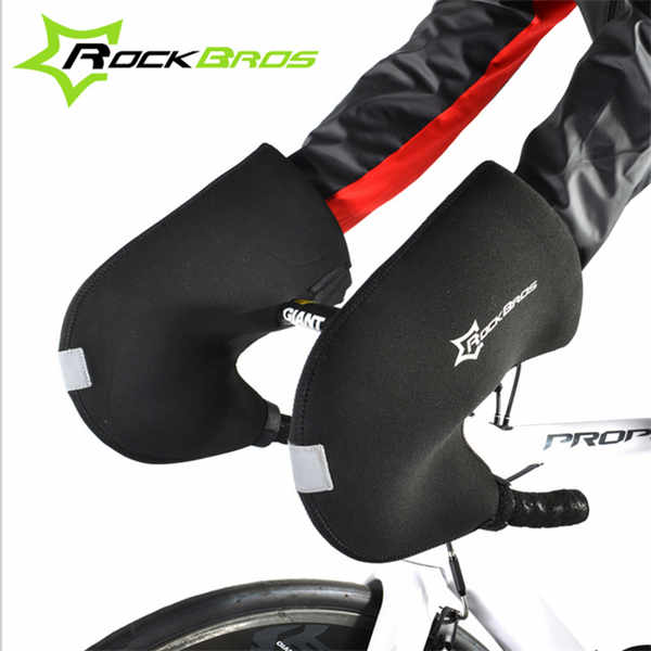 ROCKBROS One Pair Winter Cycling <font><b>Gloves</b></font> Bicycle Handlebar Mitten Hand Warmers Free Size MTB Bike Road Bike Handlebar Hands Cover