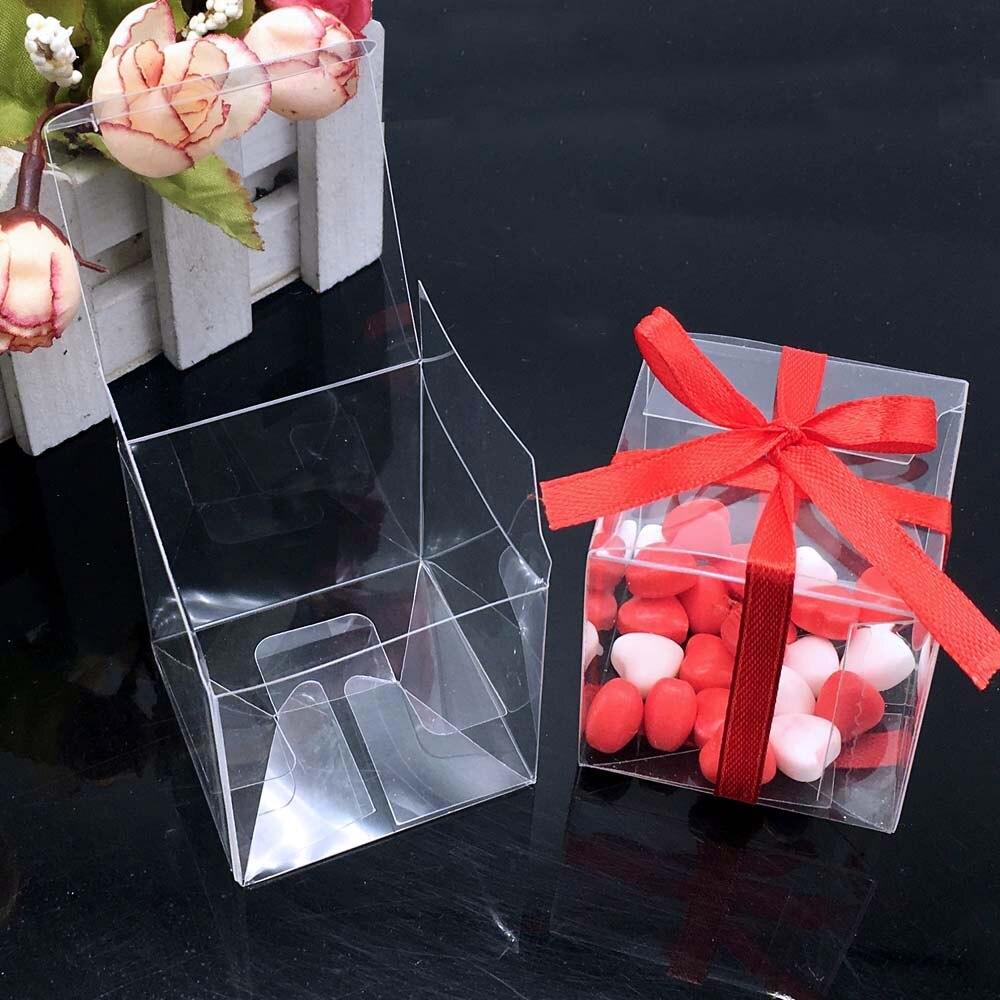 100 Pieces/lot PVC Square Gift Boxes Favor Candy Packing Souvenir Box Transparent Event Chocolate Dessert Bags 5x5x5cm