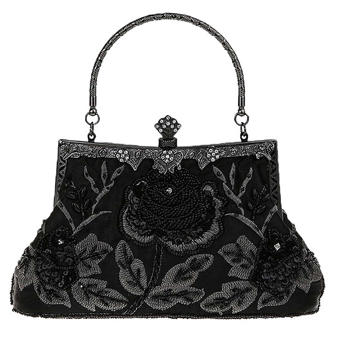 Chic Women Antique Bag Luxury Beaded Rose Evening Purse Clutch Handbag Classic Retro Party Ladies Soft Satin Bag 2018 New Women