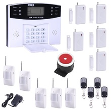 Free Shipping 5pcs PIR detectors 433MHZ LCD Display Door Sensors Remote Control Home Security GSM Alarm systems Voice Prompt