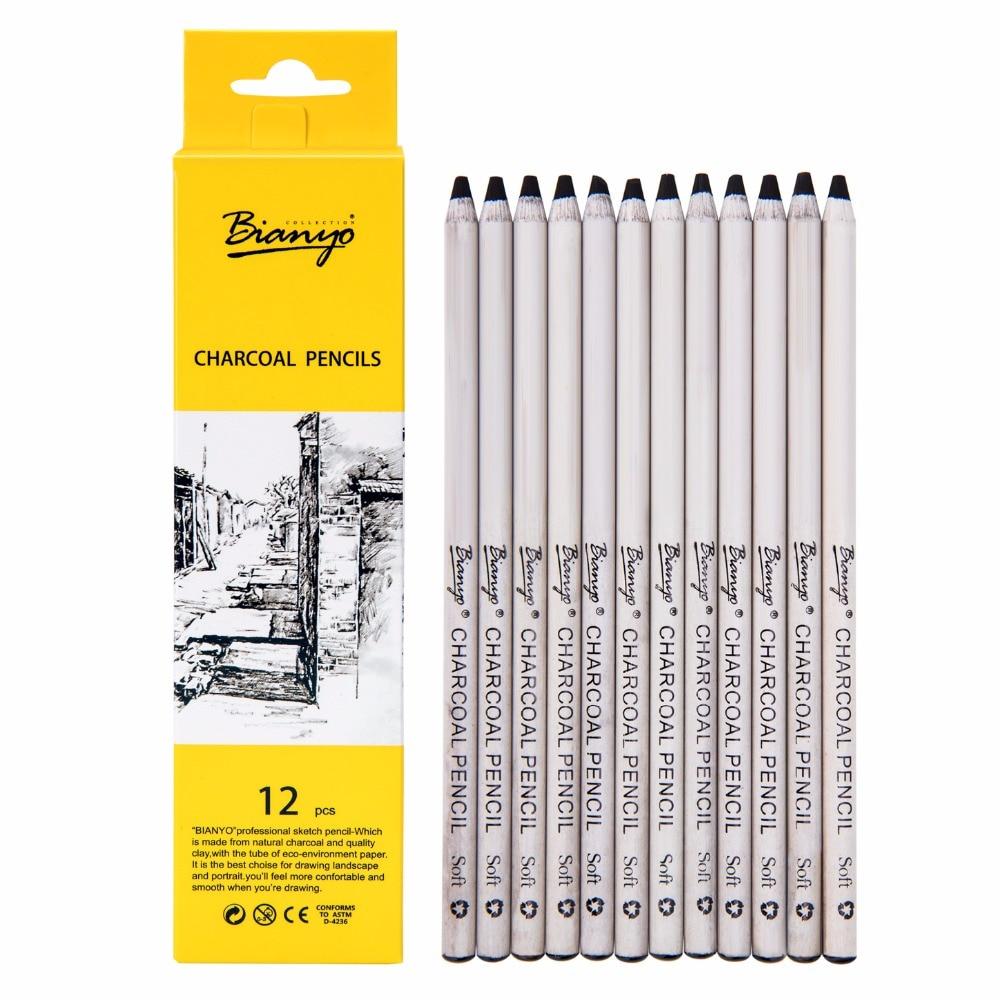 цены на Bianyo 12Pcs Professional Soft Medium Pastel Pencil Wood Black Tints Pastel Charcoal Pencils For Art Drawing School Art supplies в интернет-магазинах