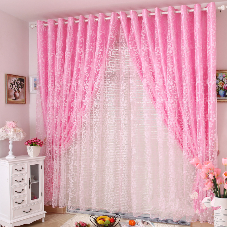 Princess Real Finished Products Rustic Pink Flock Printing Customize Organza Sheer Curtains For Window