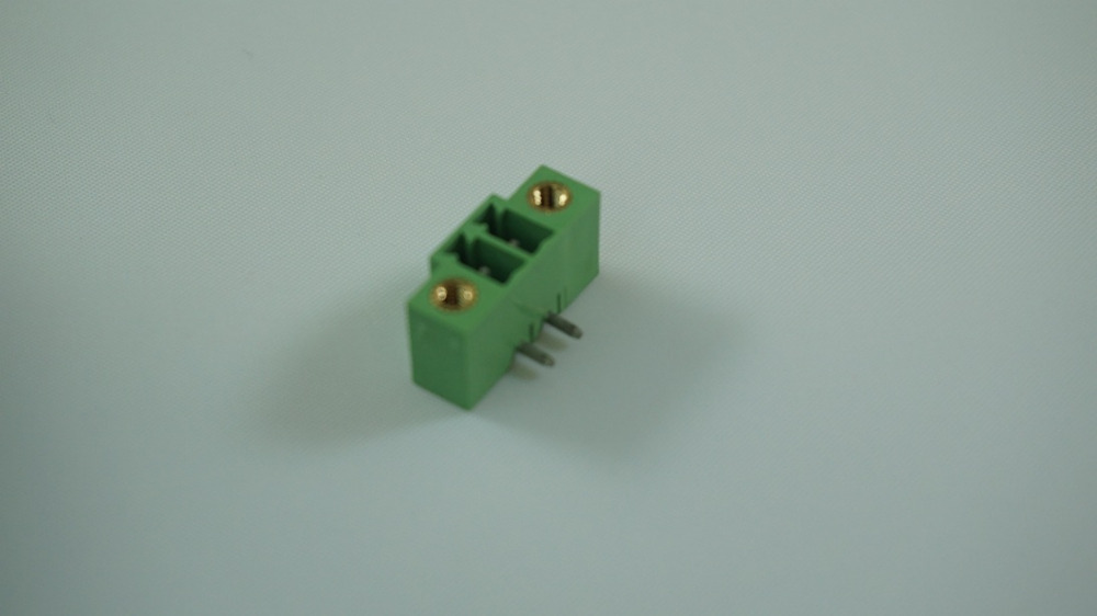 100pcs Pluggable terminal block 3.81mm header 2 poles solder right angle through hole green Tin plated cross 20020111-D021A01LF