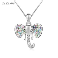 ZK KH ONG European Fashion Animal Crystal Necklace Cute Elephant Cartoon Zircon Pendant Necklace For Women