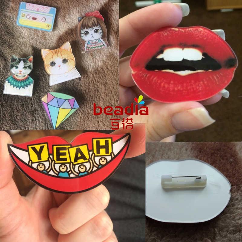 1 PC ikony na plecaku akrylowe plakietki darmowa wysyłka broda przypinki do ubrań okulary odznaka bezpieczna ikona broszka
