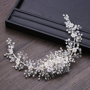 Image 4 - GETNOIVAS Luxury Tiara Shiny Crystal Pearl Beads Hair Comb Crown Bride Hairband Headband Bridal Wedding Hair Accessory SL