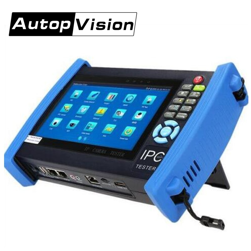 IPC8600 7 Inch IP Camera Tester CCTV Tester Monitor Ip Analog Camera Testing Cable Scan Ip Revise Onvif PTZ 12V2A POE Output