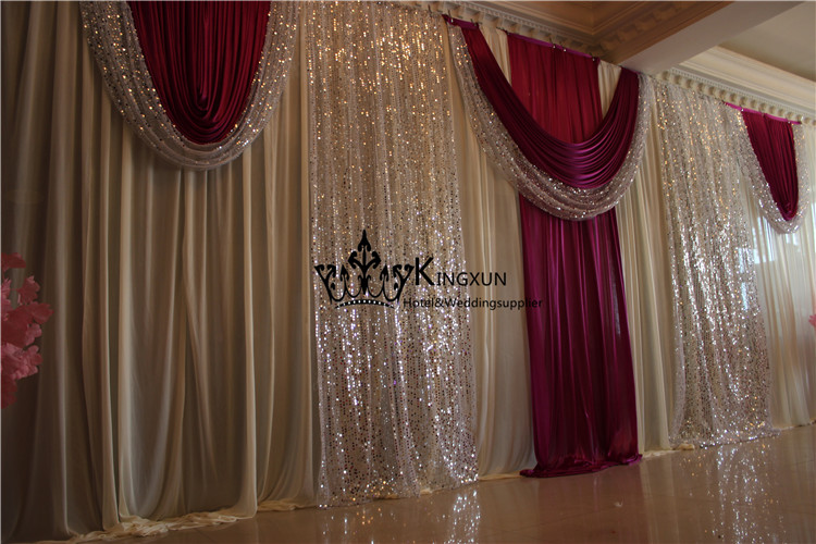 Ivory And Burgundy Color font b Wedding b font font b Backdrop b font Drape With