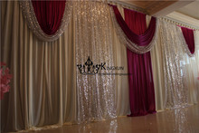 Ivory And Burgundy Color Wedding Backdrop Drape With Backdrop Pipe Stand