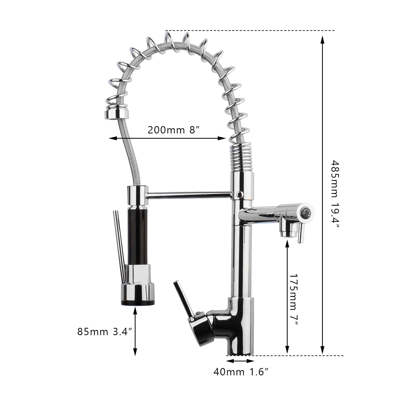 KEMAIDI robinet de cuisine à ressort pulvérisateur latéral à double bec mitigeur mitigeur robinet évier 360 robinets de cuisine à Rotation - 3