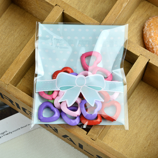200pc L Bowknot Plastic Bags Birthday Items Candy Party Packaging Bag Bo Wedding