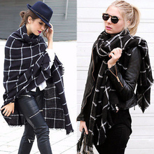New Lady Women Blanket black white Plaid Cozy Checked Tartan Scarf Wrap