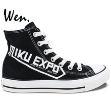 Wen Anime Hand Painted Canvas Sneakers Design Custom Hatsune MIKU EXPO High Top Men Women's Canvas Shoes for Gifts